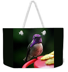 Weekender Tote Bag featuring the photograph Hummingbird Male Costa's by Jay Milo