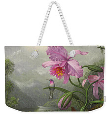 Hummingbird Perched On The Orchid Plant Weekender Tote Bag by Martin Johnson Heade