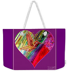 Hummingbird Spreads Peace And Love Weekender Tote Bag by Kimberlee Baxter