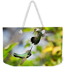 Hummingbirds Ensuing Battle Weekender Tote Bag by Christina Rollo