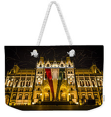 Hungarian Parliament At Night Weekender Tote Bag