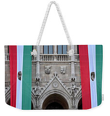 Hungary Flag Hanging At Parliament Budapest Weekender Tote Bag