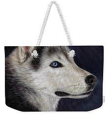 Husky Portrait Painting Weekender Tote Bag by Rachel Stribbling