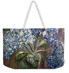 Weekender Tote Bag featuring the painting Hydrangea Bouquet At Dawn by Eloise Schneider