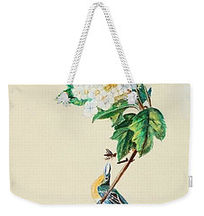Hydrangea With Yellow Breasted  Vireo After Audubon Weekender Tote Bag