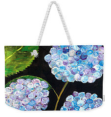 Weekender Tote Bag featuring the painting Hydrangeas  by Reina Resto