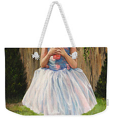 Weekender Tote Bag featuring the painting I Dressed Myself by Donna Tucker
