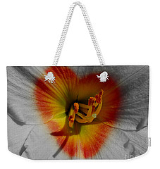 Weekender Tote Bag featuring the photograph I Heart Flowers by Janice Westerberg