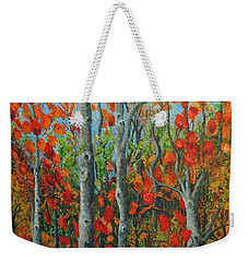 I Love Fall Weekender Tote Bag by Holly Carmichael