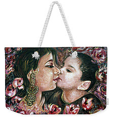 Weekender Tote Bag featuring the painting I Love You Mom by Harsh Malik