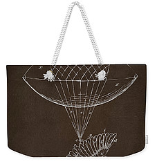 Weekender Tote Bag featuring the drawing Icarus Airborn Patent Artwork Espresso by Nikki Marie Smith