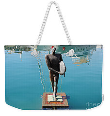 Icarus With His Surfboard Weekender Tote Bag by Linda Prewer