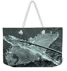 Weekender Tote Bag featuring the photograph Ice-bird On The River by Nina Silver