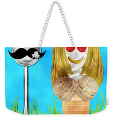 Weekender Tote Bag featuring the digital art Ice Cream Couple by Ally  White