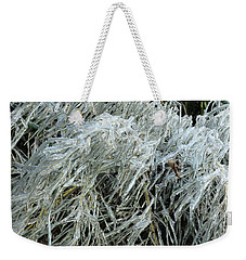 Ice On Bamboo Leaves Weekender Tote Bag by Daniel Reed