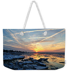 Ice On The Delaware River Weekender Tote Bag by Ed Sweeney