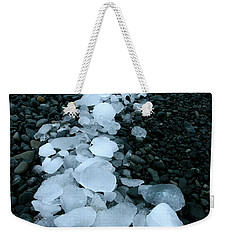 Weekender Tote Bag featuring the photograph Ice Pebbles by Amanda Stadther