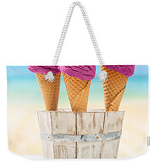 Icecreams With Blueberries Weekender Tote Bag by Amanda Elwell