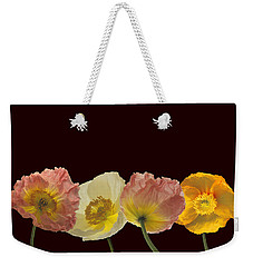 Weekender Tote Bag featuring the photograph Iceland Poppies On Black by Susan Rovira