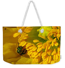 Weekender Tote Bag featuring the photograph Iceland Poppy Pollination by J McCombie