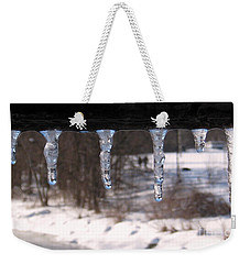 Weekender Tote Bag featuring the photograph Icicles On The Bridge by Nina Silver