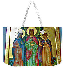 Icon Inside Chesme Church Built By Catherine The Great In Saint  Petersburg-russia Weekender Tote Bag