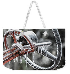 Weekender Tote Bag featuring the photograph Icy Allis- Chalmers Tractor by Debbie Green