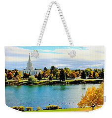 Weekender Tote Bag featuring the photograph Idaho Falls Temple by Benjamin Yeager