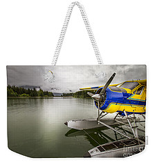 Idle Float Plane At Juneau Airport Weekender Tote Bag by Darcy Michaelchuk