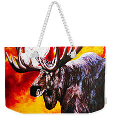 Weekender Tote Bag featuring the painting I'm No Bambi by Jackie Carpenter