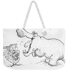 Im Not Scared Of You, Mr Hippo Ink & Crayon On Paper Weekender Tote Bag