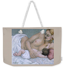 impressionist mother and child painting - Between Time Weekender Tote Bag
