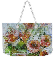 Weekender Tote Bag featuring the painting Impressionist Roses 2 by Mary Wolf