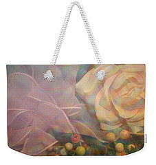 Weekender Tote Bag featuring the photograph Impressionistic Pink Rose With Ribbon by Dora Sofia Caputo Photographic Art and Design