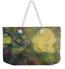 Weekender Tote Bag featuring the photograph Impressionistic Yellow Rose by Dora Sofia Caputo Photographic Art and Design