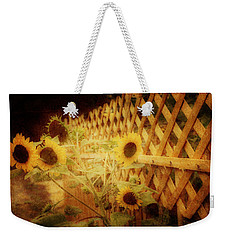 Sunflowers And Lattice Weekender Tote Bag by Toni Hopper
