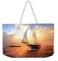 In Full Sail - Oil Painting Edition Weekender Tote Bag by Lilia D