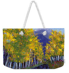 Weekender Tote Bag featuring the painting In Love With Fall River Road by Margaret Bobb