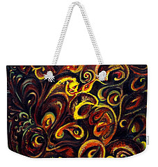 Weekender Tote Bag featuring the painting In Search Of  Ultimate Truth by Harsh Malik