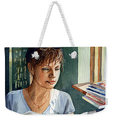 Weekender Tote Bag featuring the painting In The Book Store by Irina Sztukowski