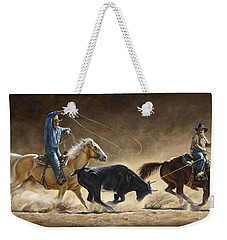 Weekender Tote Bag featuring the painting In The Money by Kim Lockman