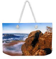 In The Sun Glowing Rock On The Lilienstein Weekender Tote Bag