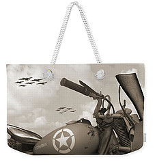 Indian 841 And The B-17 Panoramic Sepia Weekender Tote Bag