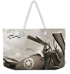 Indian 841 And The B-17 Panoramic Sepia Weekender Tote Bag
