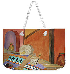 Weekender Tote Bag featuring the painting Indian Blankets Jars And Drums by Ellen Levinson