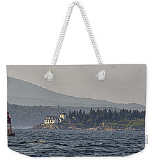 Weekender Tote Bag featuring the photograph Indian Island Lighthouse - Rockport - Maine by Marty Saccone