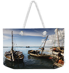 Indian Ocean Dhow At Stone Town Port Weekender Tote Bag by Amyn Nasser