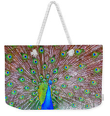 Weekender Tote Bag featuring the photograph Indian Peacock by Deena Stoddard