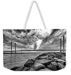 Indian River Bridge Clouds Black And White Weekender Tote Bag