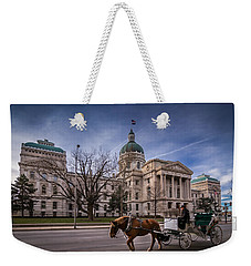 Indiana Capital Building - Front With Horse Passing Weekender Tote Bag